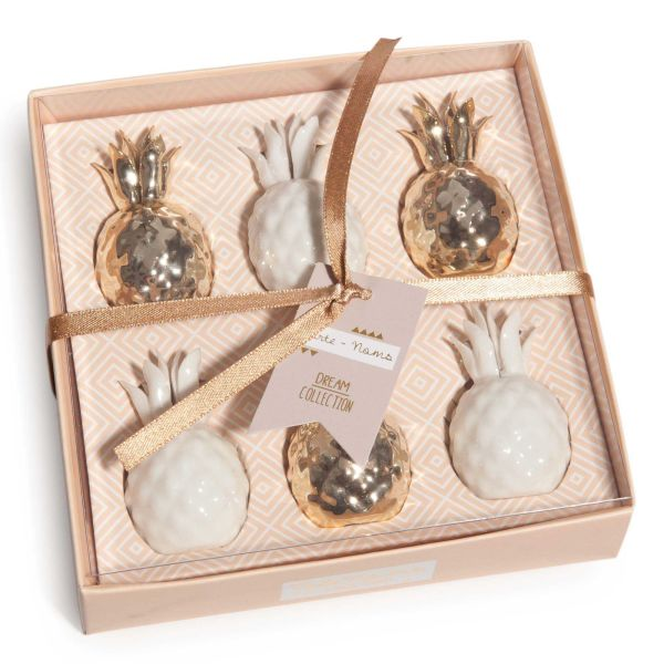 Coffret 6 porte-noms ananas en porcelaine (photo)