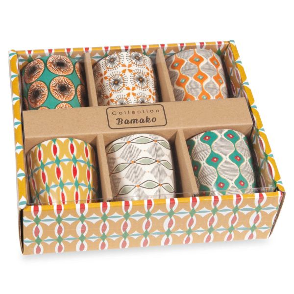 Coffret 6 tasses en faïence multicolore BAMAKO (photo)
