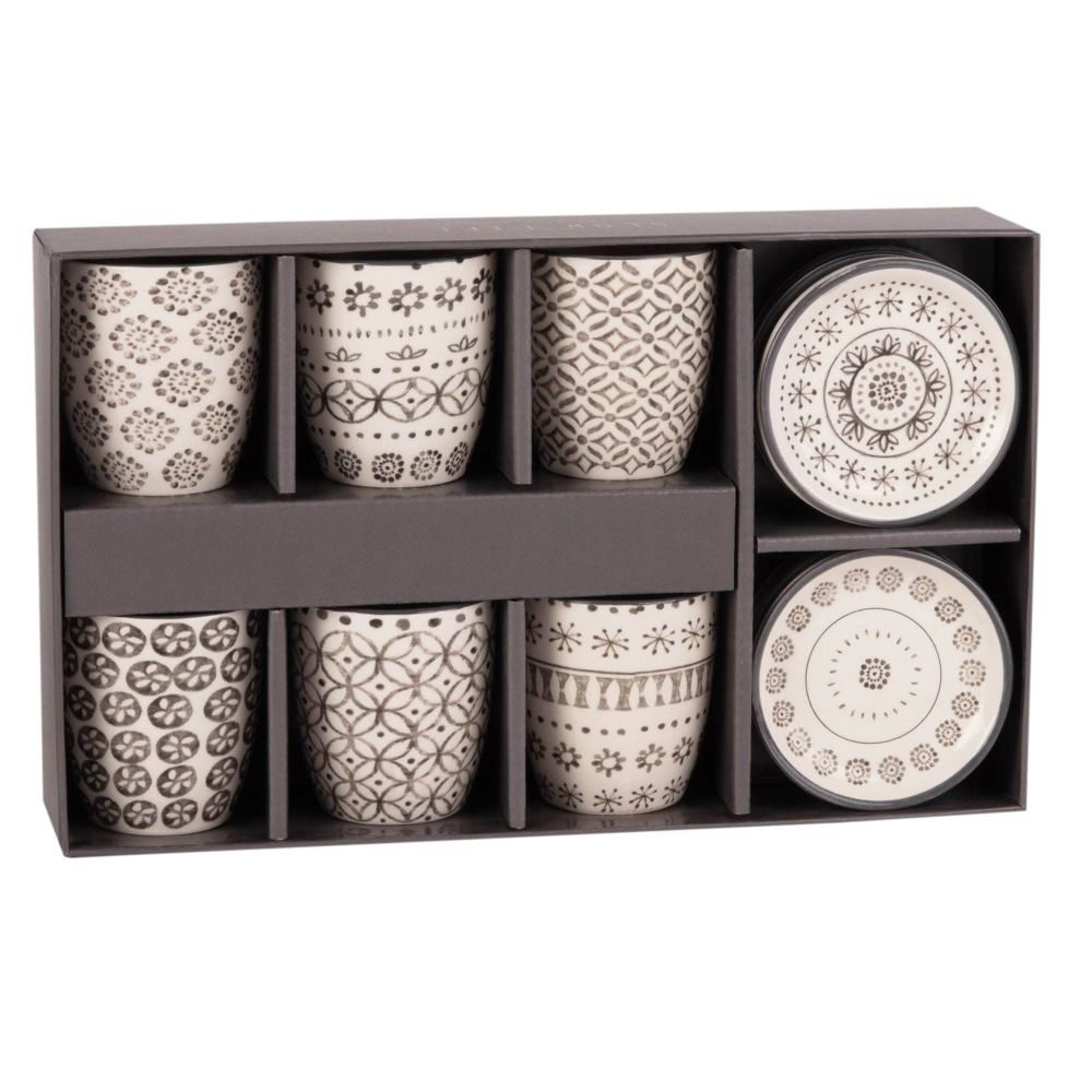 Coffret 6 tasses et soucoupes en faïence SLOW HOME (photo)