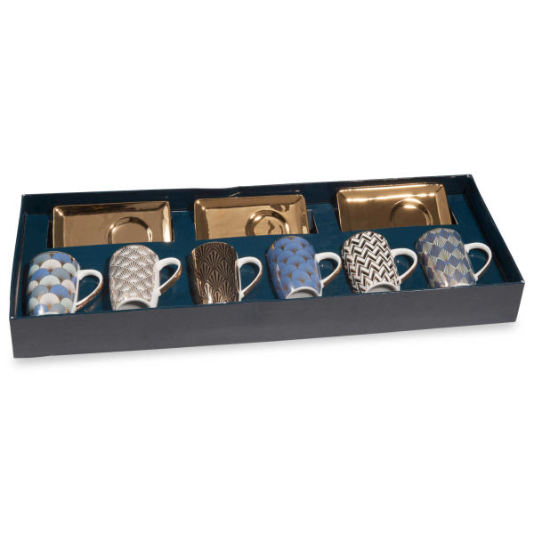 Coffret 6 tasses et soucoupes en porcelaine ART DÉCO (photo)