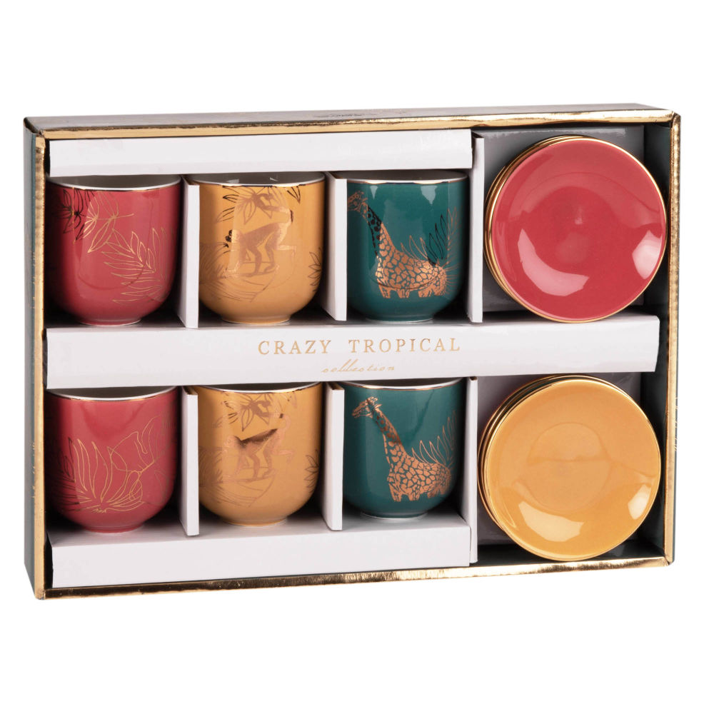 Coffret 6 tasses et soucoupes en porcelaine imprimé tropical (photo)