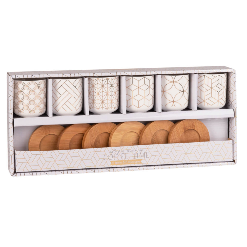 Coffret 6 tasses et soucoupes en porcelaine SONATE (photo)