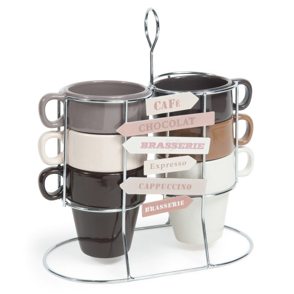 Coffret 6 tasses + support en faïence marrons et beiges AMERICANO (photo)