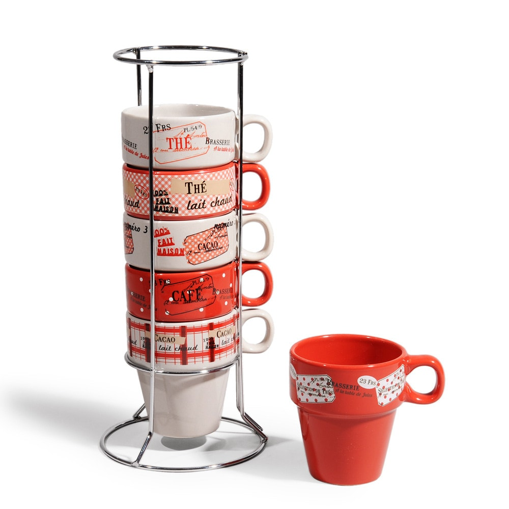 Coffret 6 tasses + support en faïence rouges (photo)