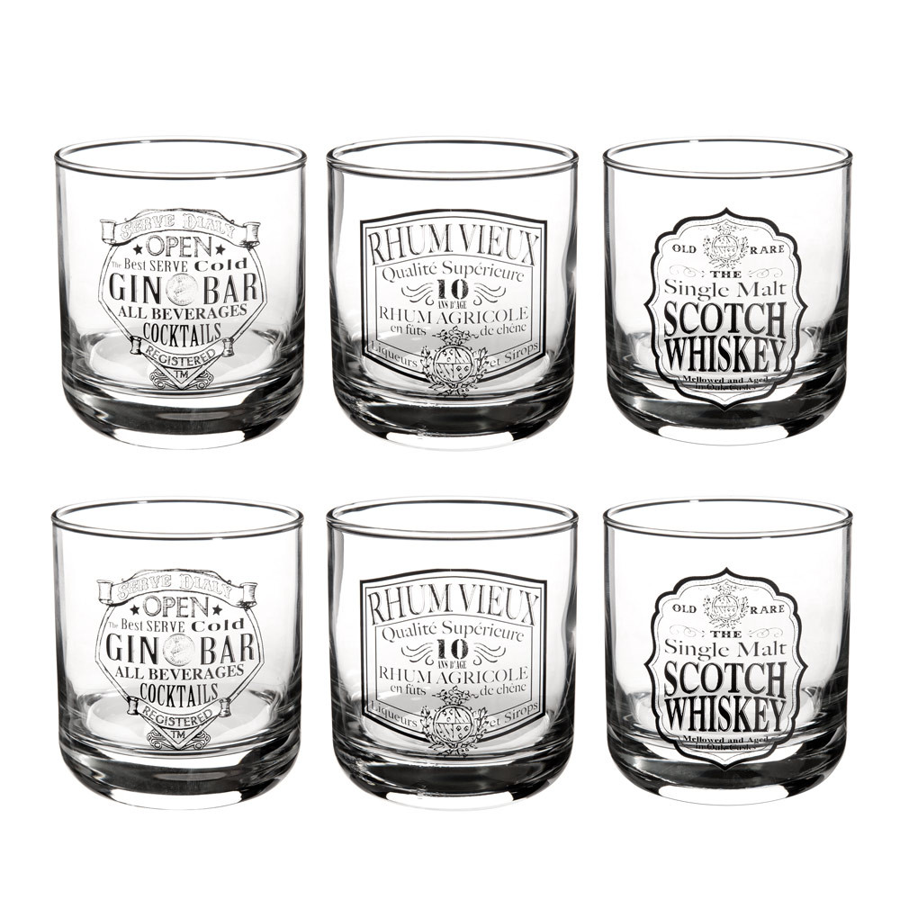 Coffret 6 verres en verre DRINKS (photo)