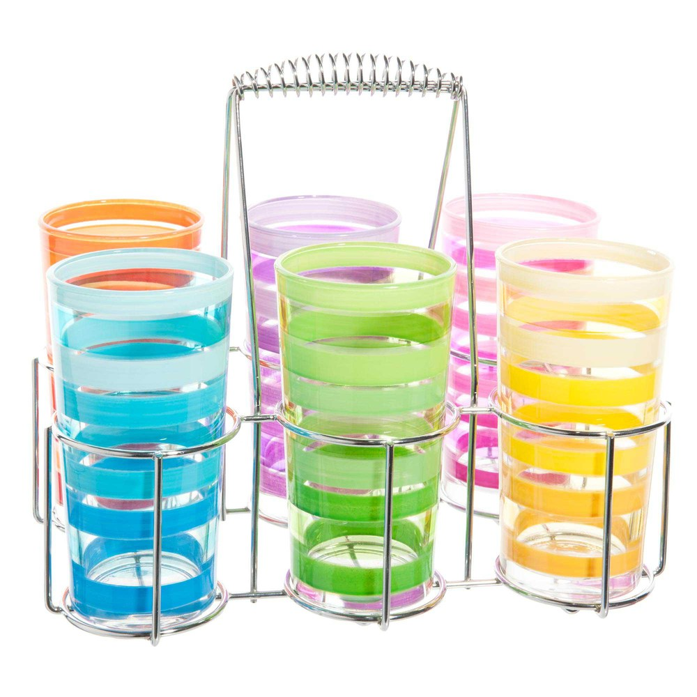Coffret 6 verres multicolores + support métal (photo)