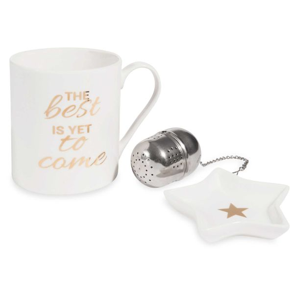 Coffret mug + boule à thé + coupelle GOLD