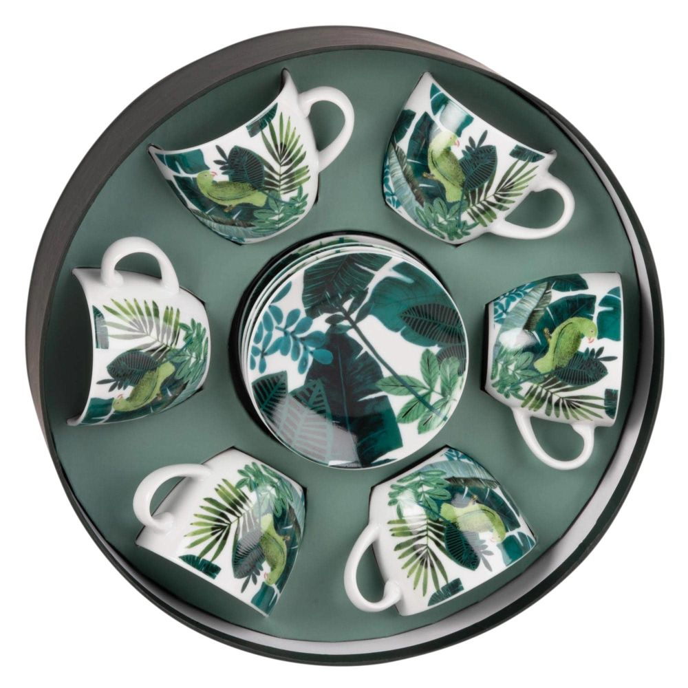 Coffret rond 6 tasses et soucoupes en porcelaine imprimé tropical (photo)