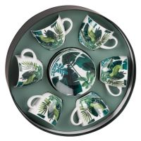 Coffret rond 6 tasses et soucoupes en porcelaine imprimé tropical Jungle