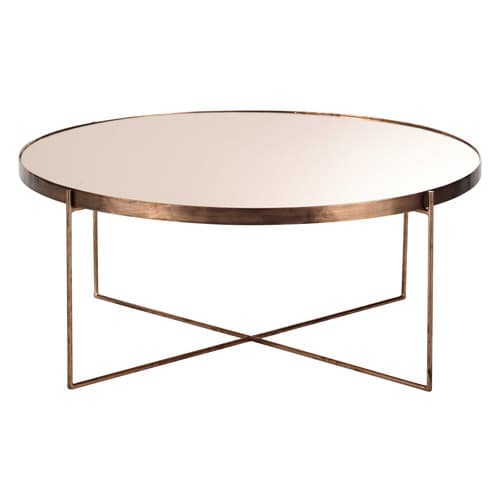 Com Te Copper Plated Metal Mirror Coffee Table D 83cm