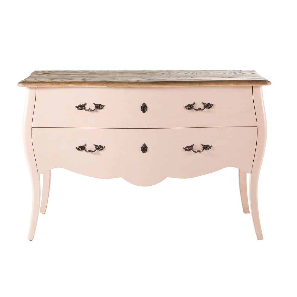 Commode 2 tiroirs rose clair Haute couture