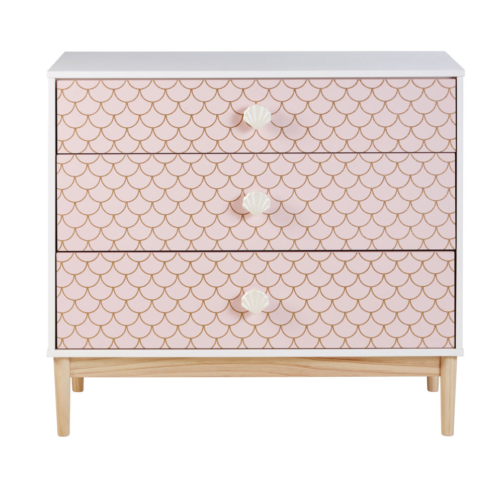 Commode 3 tiroirs rose imprimé écailles Mermaid