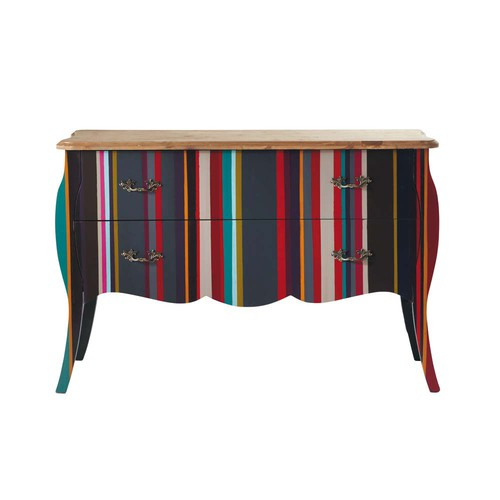 commode rayures en bois multicolore l 120 cm n on. Black Bedroom Furniture Sets. Home Design Ideas