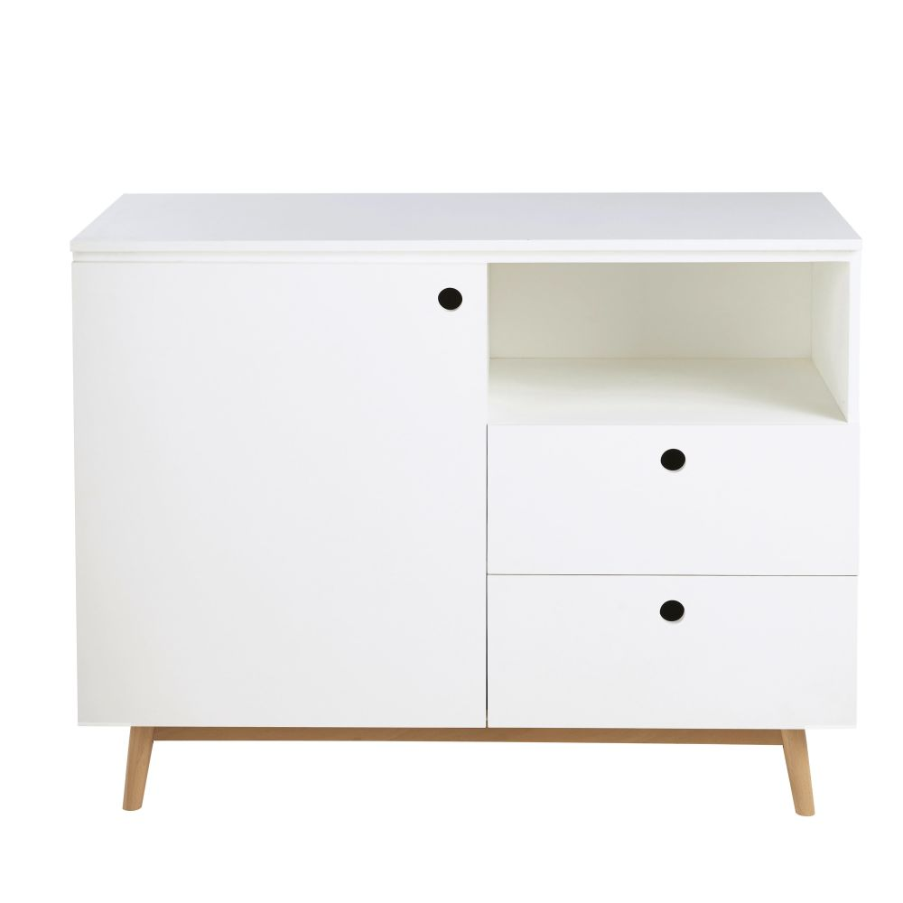 Commode blanche 1 porte 2 tiroirs Eliot (photo)