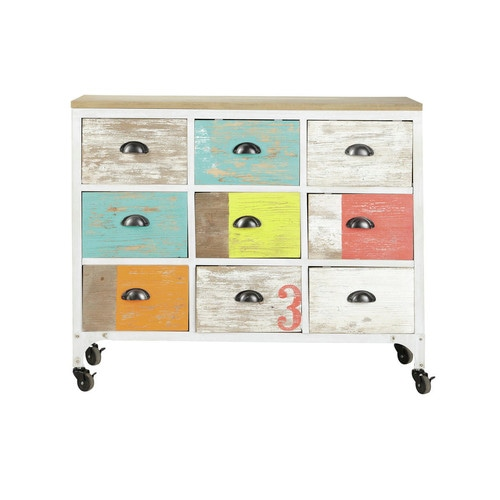 Commode Cabinet Multicolore Roulettes Ipanema Maisons