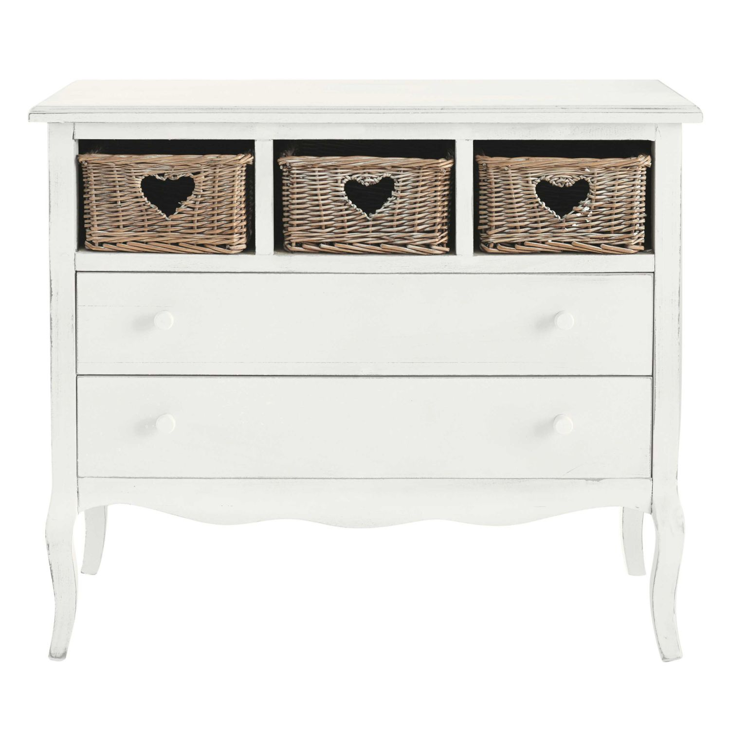 commode c ur 2 tiroirs blanche maisons du monde. Black Bedroom Furniture Sets. Home Design Ideas