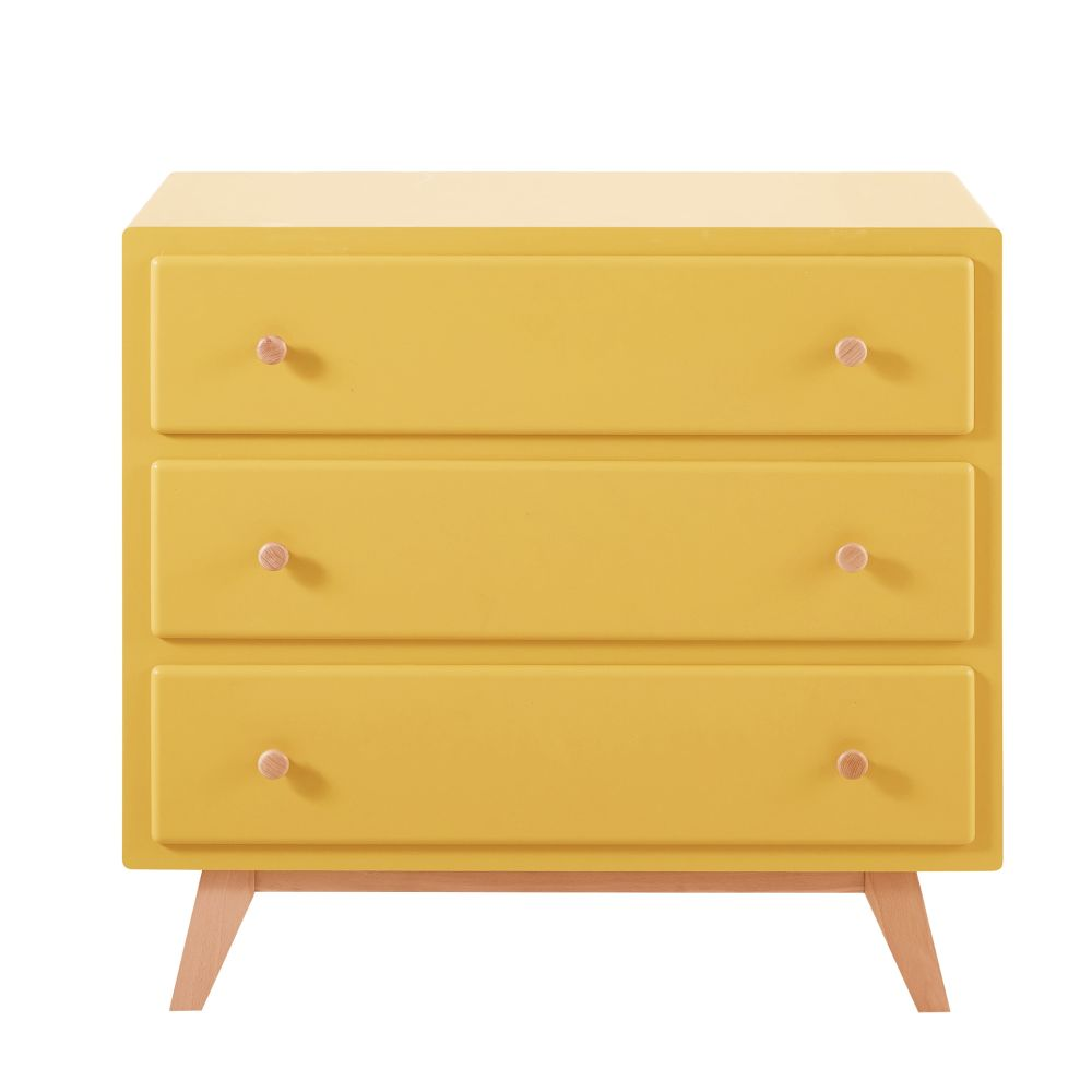Commode compatible plan à langer 3 tiroirs jaune Sweet 2 (photo)
