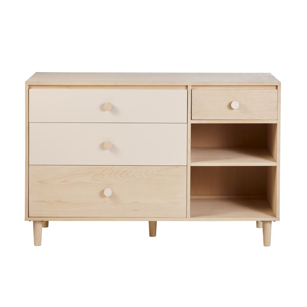 Commode double 4 tiroirs blanchie et rose poudré Lou (photo)