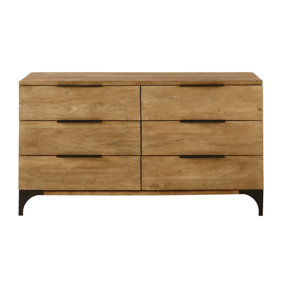 Commode double 6 tiroirs en manguier massif Metropolis