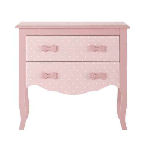 commode enfant en bois rose l 80 cm coquette maisons du monde. Black Bedroom Furniture Sets. Home Design Ideas