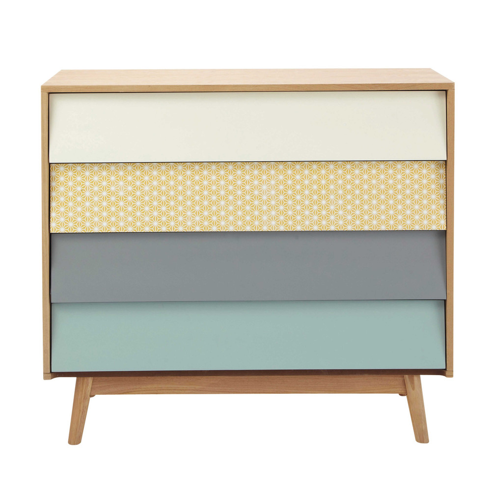 Commode vintage 4 tiroirs multicolore Fjord