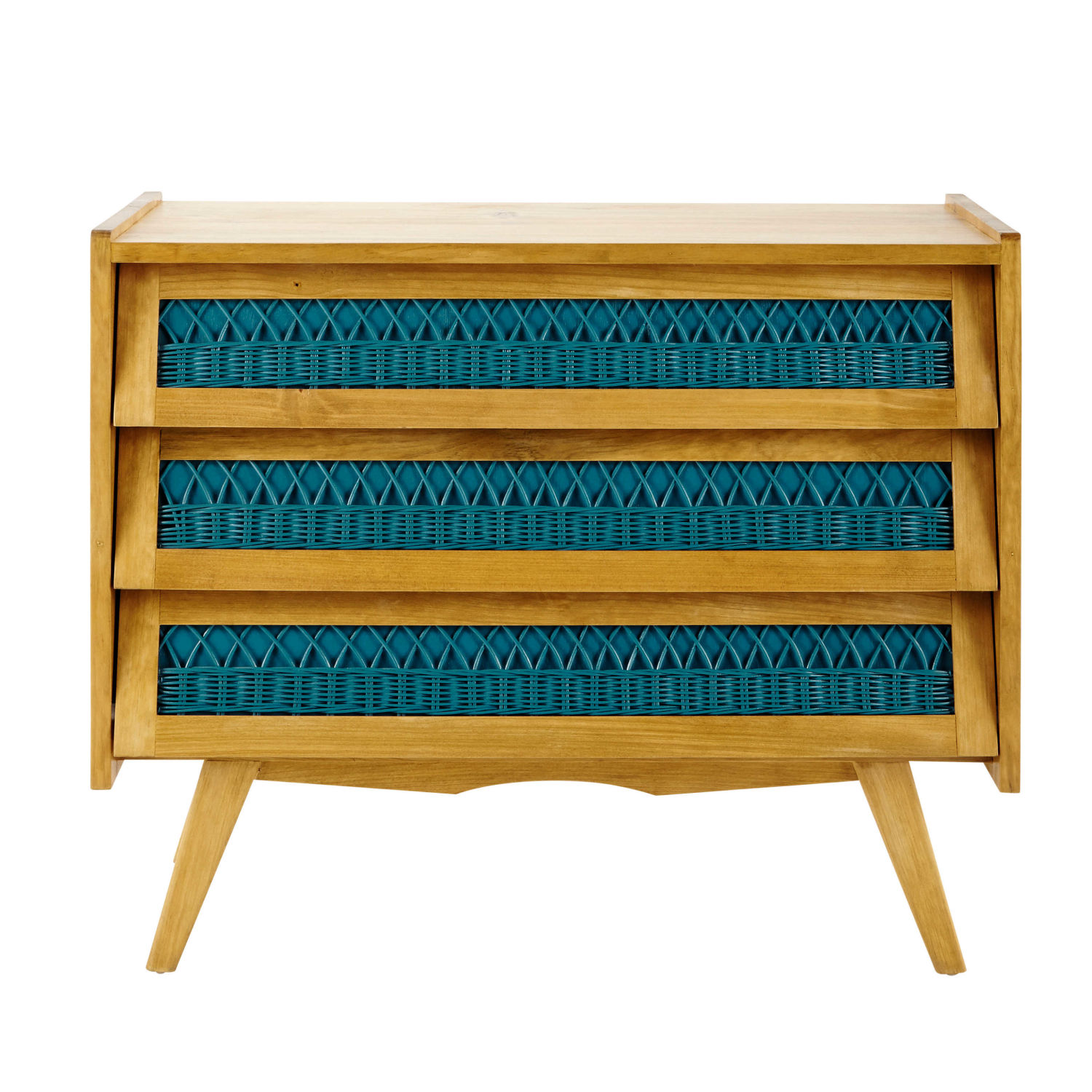 commode vintage en bois et rotin turquoise l 91 cm maisons du monde. Black Bedroom Furniture Sets. Home Design Ideas