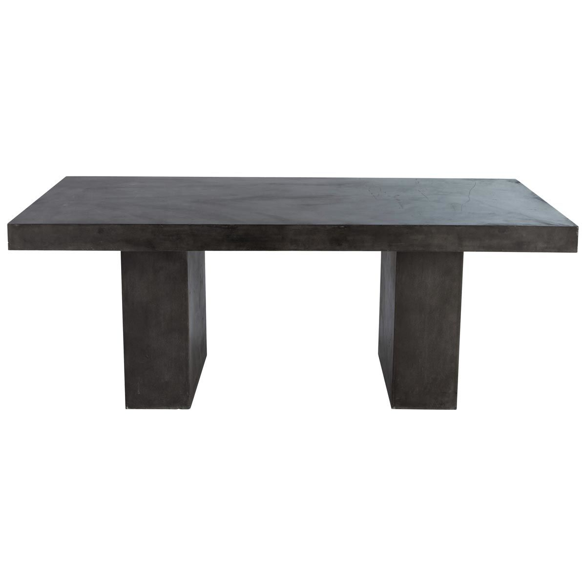 Concrete effect magnesia table in charcoal grey w 200cm for Tavolo legno maison du monde