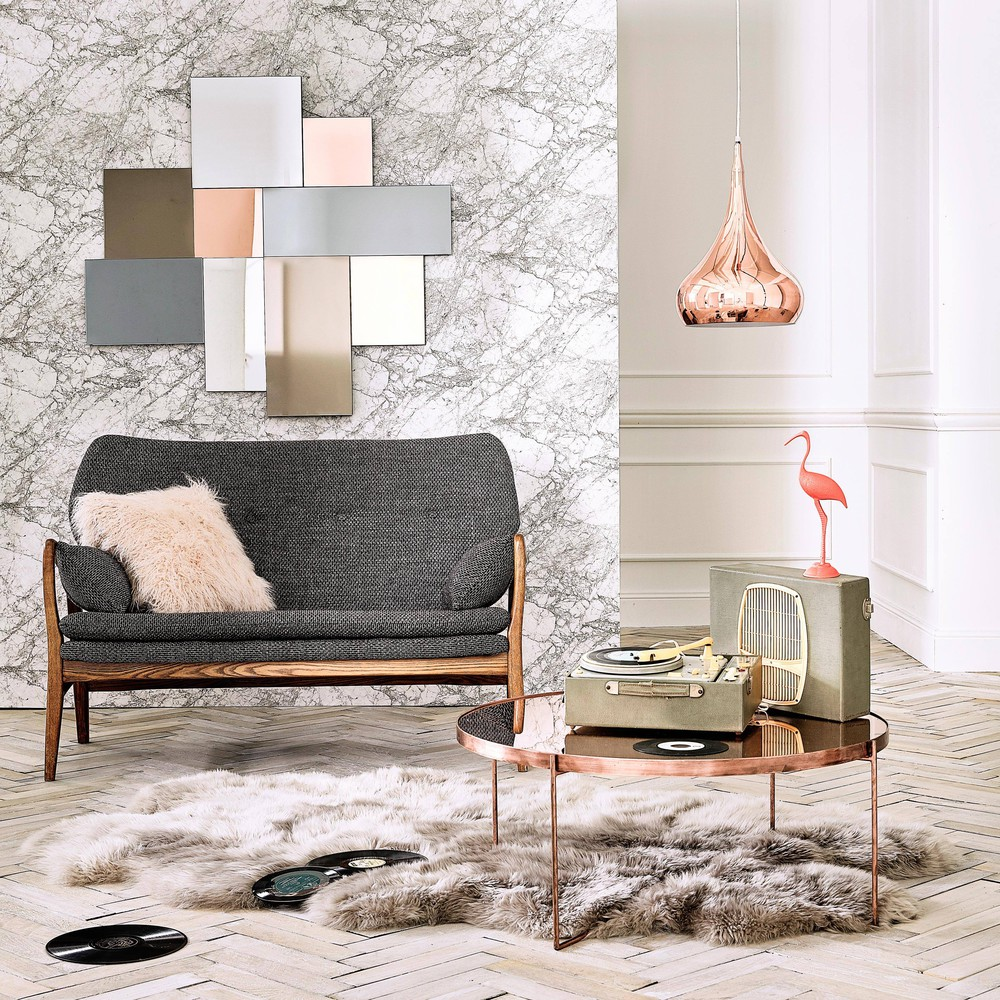 Copper-Plated Metal Mirror Round Coffee Table   Maisons du Monde