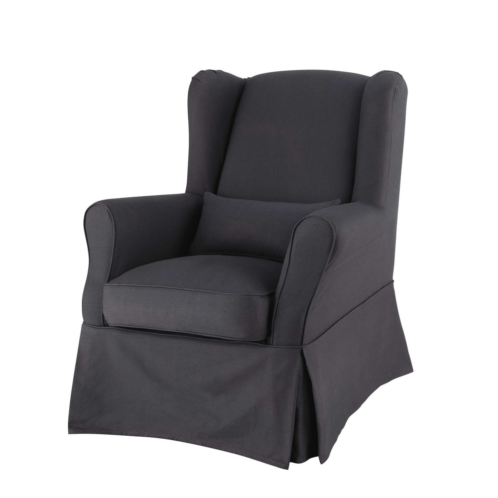 Cotton armchair cover in charcoal grey