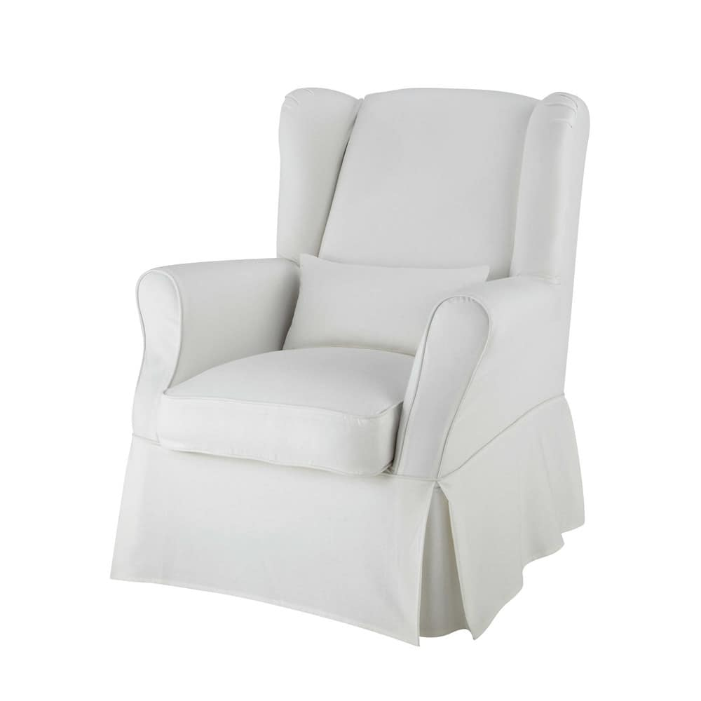 Cotton armchair cover in ivory