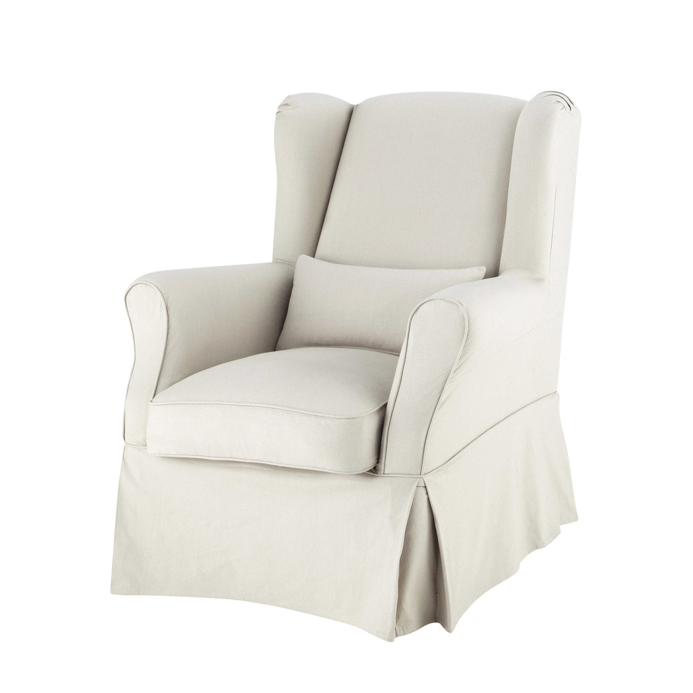 Cotton armchair cover in putty