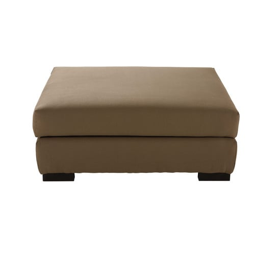 Cotton modular pouffe in taupe
