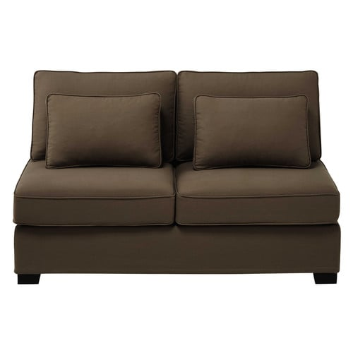 Cotton modular sofa armless unit in taupe W 151cm