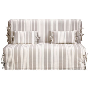 Cotton stripe Z-bed sofa cover in beige/ivory