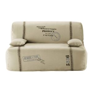 Cotton Z-bed sofa cover in beige