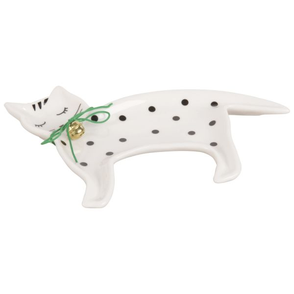Coupelle à bijoux chat en porcelaine blanche
