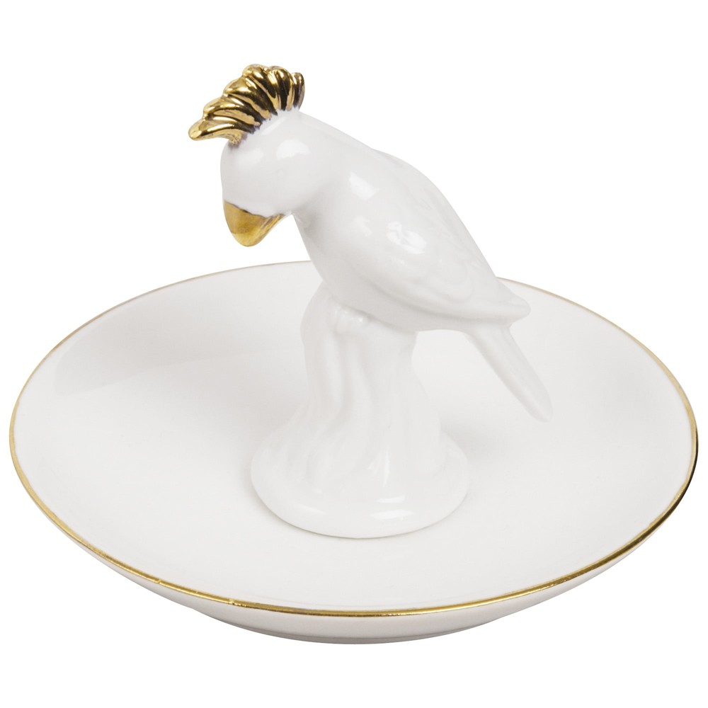 Coupelle à bijoux perroquet en porcelaine blanche (photo)