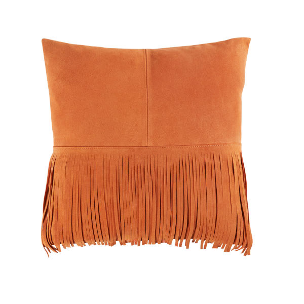 Coussin à franges en cuir orange 40x40 (photo)
