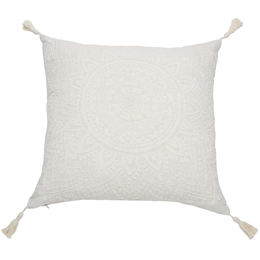 Coussin à pompons blanc 45x45 (photo)