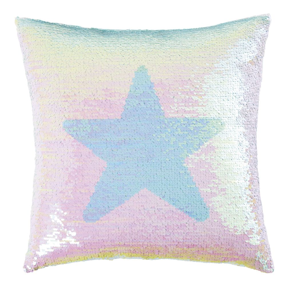 Coussin à sequins réversibles multicolores imprimé 40x40 (photo)