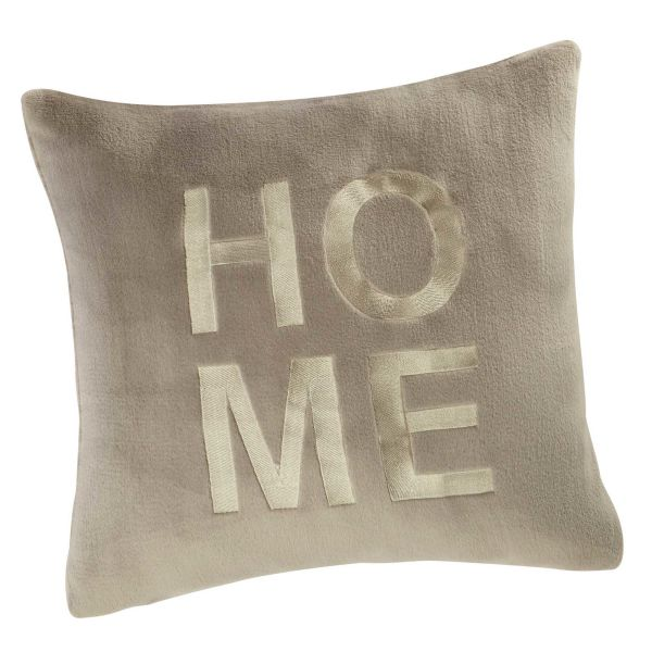 Coussin brodé gris 50 x 50 cm HOME (photo)