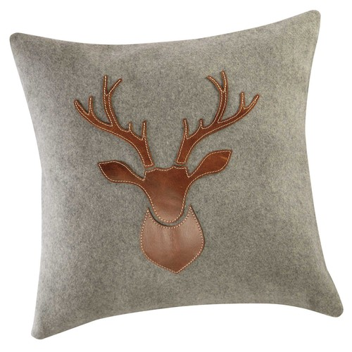 coussin cerf en laine et cuir 45 x 45 cm antler maisons du monde. Black Bedroom Furniture Sets. Home Design Ideas