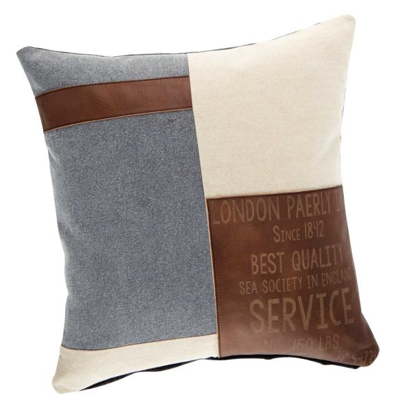 Coussin en coton beige et marron 50 x 50 cm NAVY (photo)
