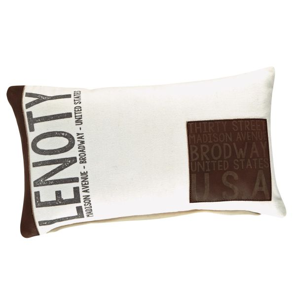 Coussin en coton blanc et marron 30 x 50 cm LENOTY (photo)
