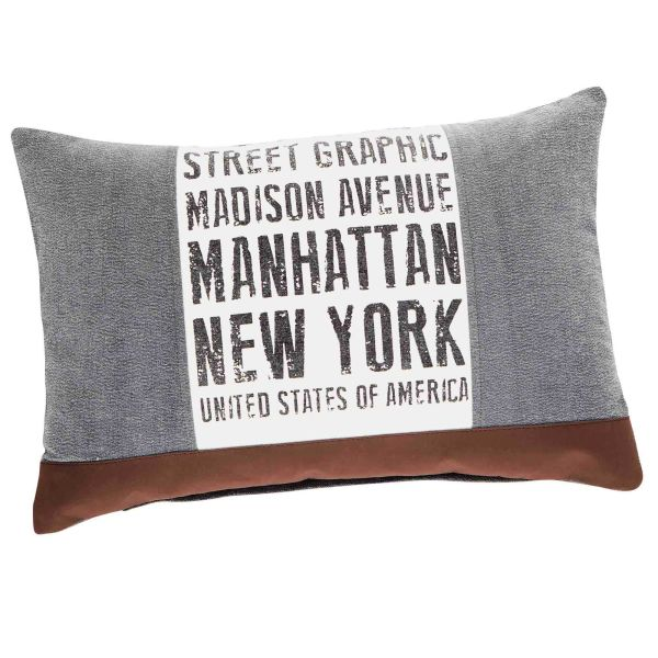 Coussin en coton gris et marron 40 x 60 cm STREET GRAPHIC (photo)