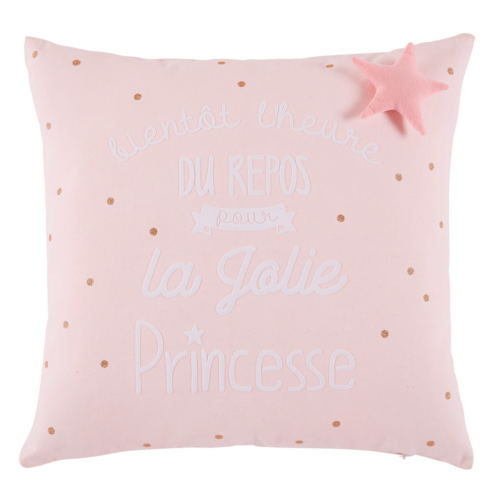 Coussin en coton rose imprimé 40x40 (photo)