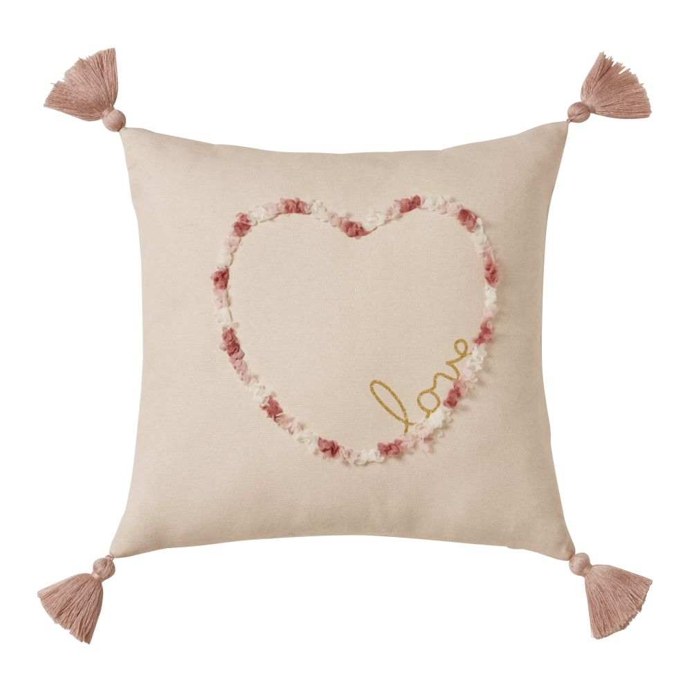 Coussin en coton rose motif cur 35x35 (photo)