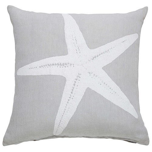 coussin en lin gris imprim toile de mer 45x45cm starfish. Black Bedroom Furniture Sets. Home Design Ideas