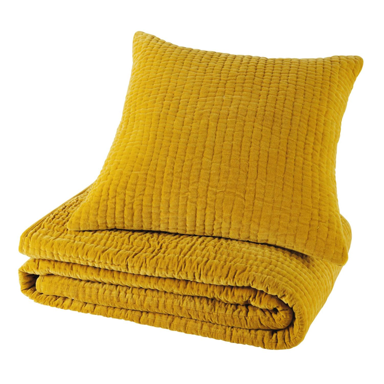 coussin en velours piqu jaune moutarde 60 x 60 cm maisons du monde. Black Bedroom Furniture Sets. Home Design Ideas