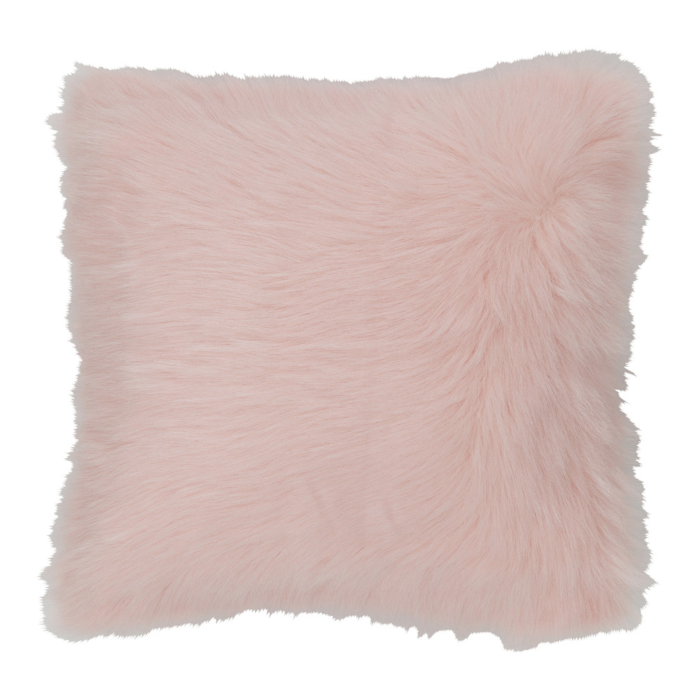 Coussin imitation fourrure rose 45x45 (photo)